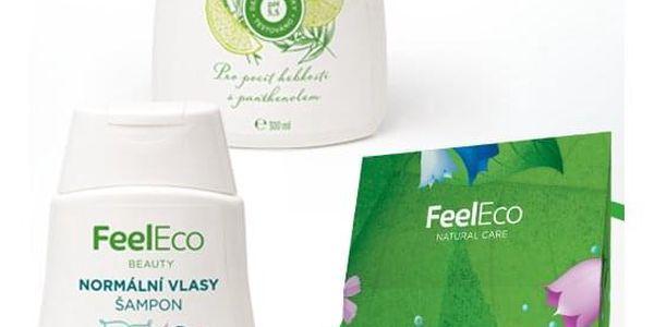 Dárkový balíček Kosmetika Feel Eco Sprchové gely: Granátové jablko 300ml, Šampony: Normální vlasy, Kosmetika: Krabička kosmetiky Feel Eco