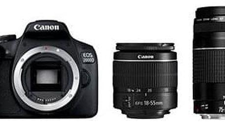 Digitální zrcadlovka Canon EOS 2000D + 18-55mm DC III + 75-300mm DC III