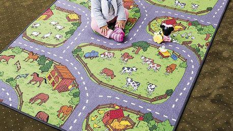 Vopi Dětský koberec Farma II šedozelený, 80 x 120 cm