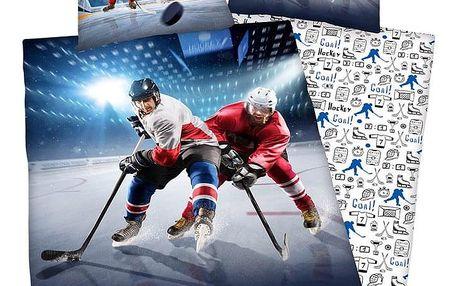 Herding Bavlněné povlečení Ice Hockey, 140 x 200 cm, 70 x 90 cm