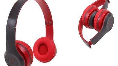 Hudební sluchátka P8047 červená