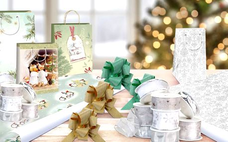 Sety k balení dárků: balicí papír, tašky, krabice i stuhy