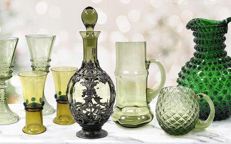 Sklenice, vázy i karafy z ručně foukaného skla
