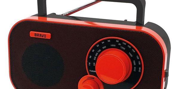 Přenosné rádio Bravo B-5184 ČERVENO ČERNÁ