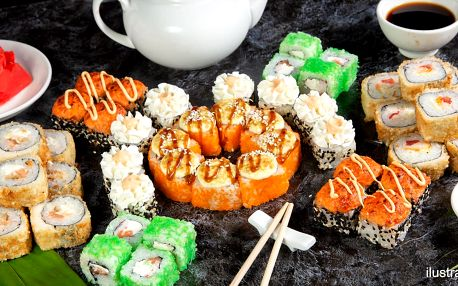 Sushi sety po 24–68 rolkách s lososem i krevetou