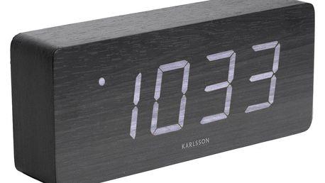 Karlsson 5654BK Designové LED stolní hodiny s budíkem, 21 x 9 cm