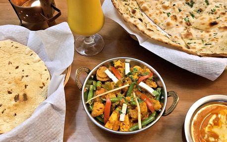 Indické menu ve vege i masové verzi pro 1 či 2 os.