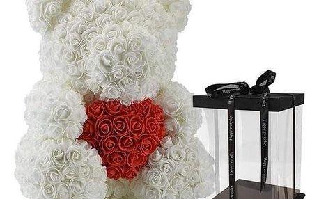 Bílý medvídek z růží 30 cm