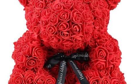 Červený medvídek z růží 25 cm