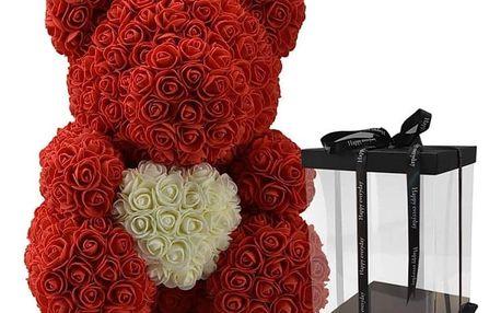 Červený medvídek z růží 30 cm