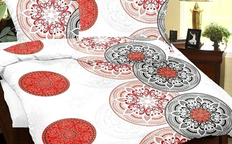 Bellatex Krepové povlečení Mandala červená