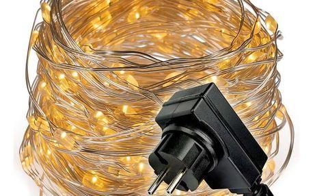Světelný řetěz s časovačem - 200 LED, teplá bílá