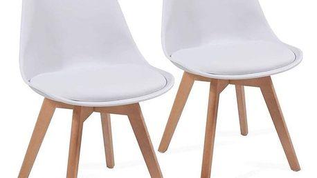 Miadomodo 74784 Sada jídelních židlí s plastovým sedákem, 2 ks, bílé