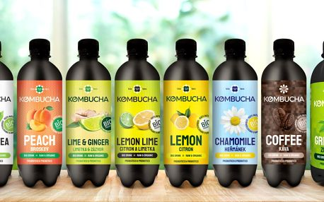 Fermentované nápoje Kombucha v 11 příchutích