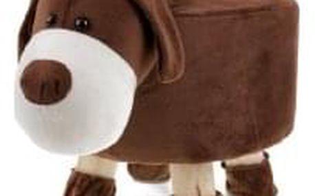 Taburet - pes, potah kombinace hnědé a bílé látky mikroplyš, masivní nohy z kaučukovníku v přírodním odstínu LA2001