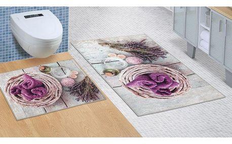 Bellatex Koupelnová sada bez výkroje Levandule, 60 x 100 cm, 60 x 50 cm