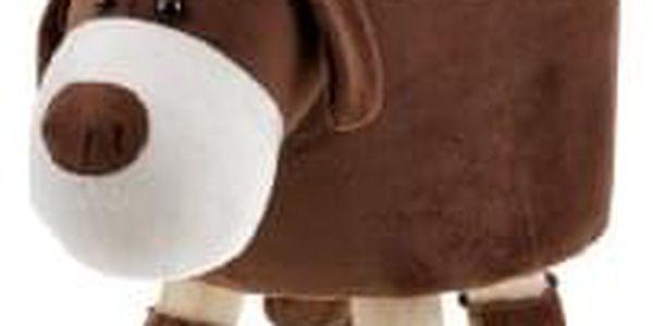 Taburet - pes, potah kombinace hnědé a bílé látky mikroplyš, masivní nohy z kauč LA2001