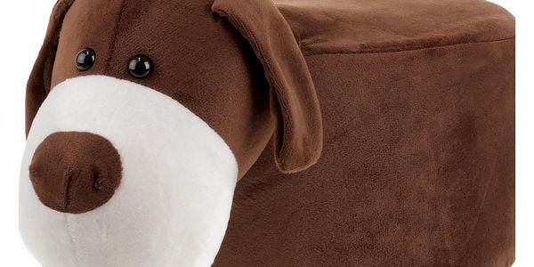 Taburet - pes, potah kombinace hnědé a bílé látky mikroplyš, masivní nohy z kauč LA20012