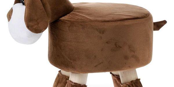 Taburet - pes, potah kombinace hnědé a bílé látky mikroplyš, masivní nohy z kauč LA20014