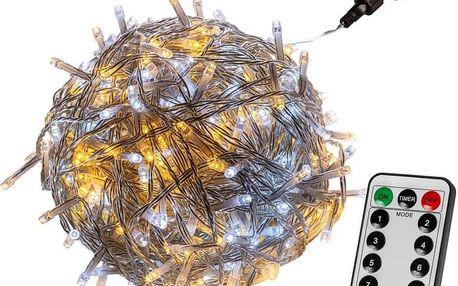 VOLTRONIC® 67605 Vánoční řetěz - 200 LED, teple/stud.bílý + ovladač