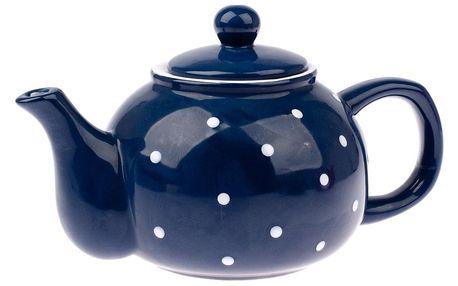 Keramická konvička na čaj Dots 1 l, modrá