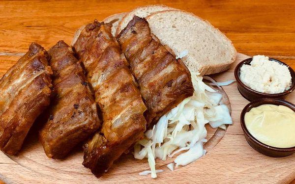 Pečené vepřové koleno nebo žebra a dezert pro 1 os.