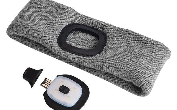 Čelenka s čelovkou 45lm, nabíjecí, USB, univerzální velikost, světle šedá SIXTOL2