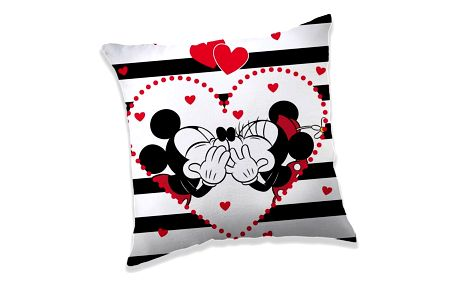 Jerry Fabrics Polštářek Mickey a Minnie in Stripes, 40 x 40 cm