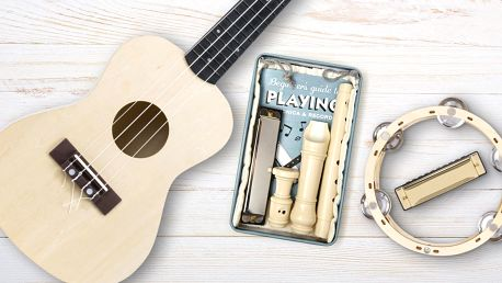 Flétna, harmonika, tamburína i ukulele k sestavení