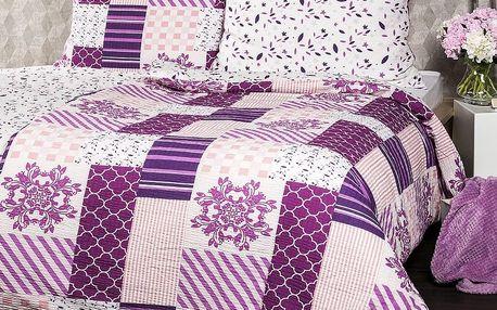4Home Krepové povlečení Patchwork violet, 140 x 220 cm, 70 x 90 cm