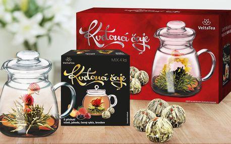 Dárkový set 4 kvetoucích čajů s konvičkou