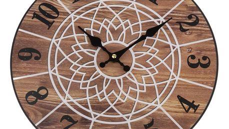 Nástěnné hodiny Mandala 34 cm, natural