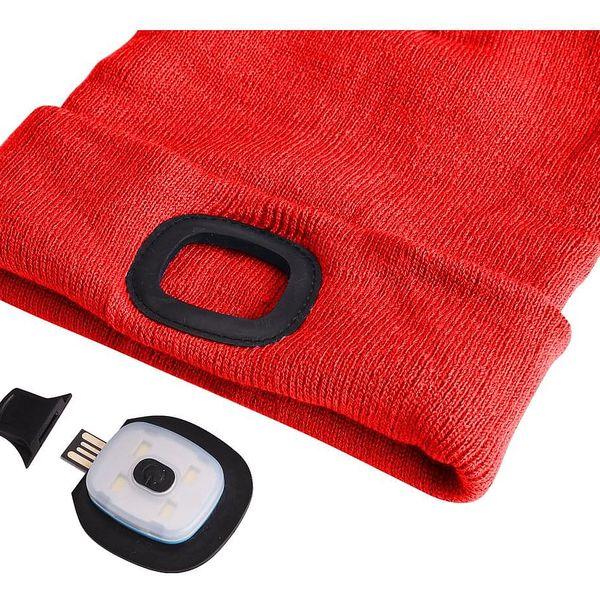 Sixtol Čepice s čelovkou 45 lm, USB, uni, červená2