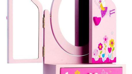 Teddies Zrcadlo se šperkovnicí a zásuvkou Princess, 16 x 25 x 8 cm