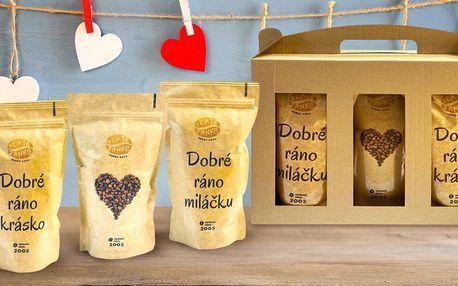 Dárkový set 3 káv pro zamilované: zrnková i mletá