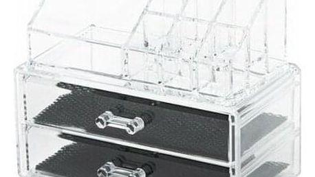 Organizér na kosmetiku Compactor – 2 zásuvky, horní úložný díl, čirý plast