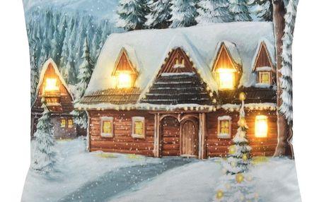 Domarex Vánoční svíticí polštářek s LED světýlky Chaloupka, 45 x 45 cm