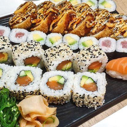 32 ks sushi s lososem, tuňákem i avokádem