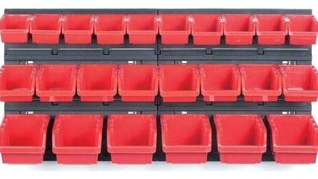 Závěsný panel na nářadí s 24 boxy Orderline, 80 x 16,5 x 40 cm