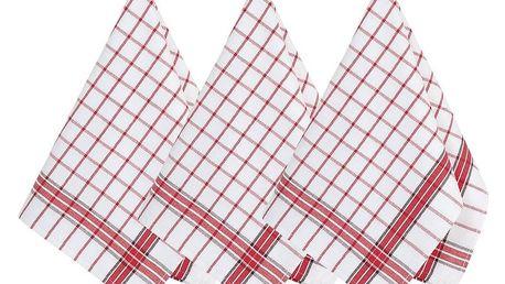 Bellatex Kuchyňská utěrka Kostka červená, 50 x 70 cm, sada 3 ks