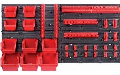 Závěsný panel na nářadí s 10 boxy a 22 držáky Orderline, 80 x 16,5 x 40 cm