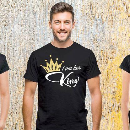 Párová trička s nápisy King a Queen, 100% bavlna