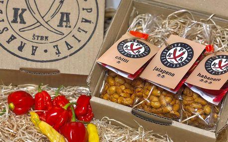 Pálivé arašídy: s chilli, habanero nebo jalapeño