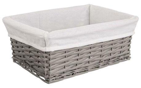 Košík proutí/bavlna 40x30x16,5 cm ŠEDÝ