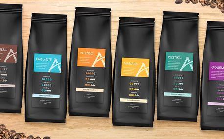 1kg balení zrnkové kávové směsi Alesio: 8 druhů