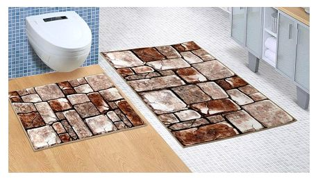 Bellatex Koupelnová sada bez výkroje Kamenná dlažba, 60 x 100 cm, 60 x 50 cm