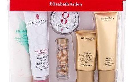 Elizabeth Arden Eight Hour® Cream Skin Protectant Travel Essentials Kit dárková kazeta pro ženy tělový balzám 50 ml + pleťové sérum 3,2 ml + balzám na rty 13 ml + denní krém 15 ml + čistící krém 50 ml + tělový krém 100 ml + kosm. taška