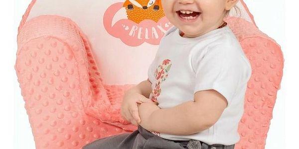 New Baby Dětské křesílko z Minky Liška lososová, 42 x 53 cm4