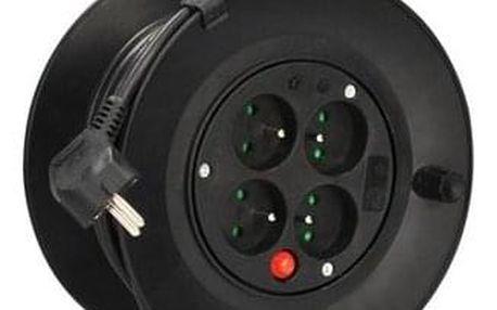 Solight prodlužovací přívod na bubnu, 4 zásuvky, černý kabel 3x 1,0mm2, 15m PB22