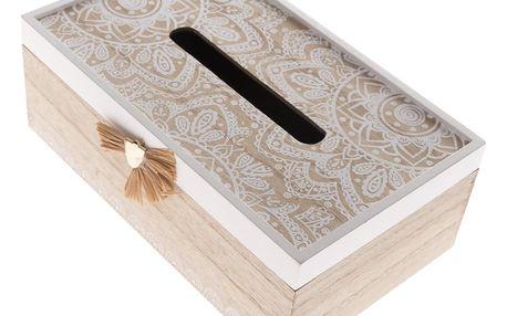 Dřevěná krabička na kapesníky Mandala, 20 x 11,5 x 9 cm